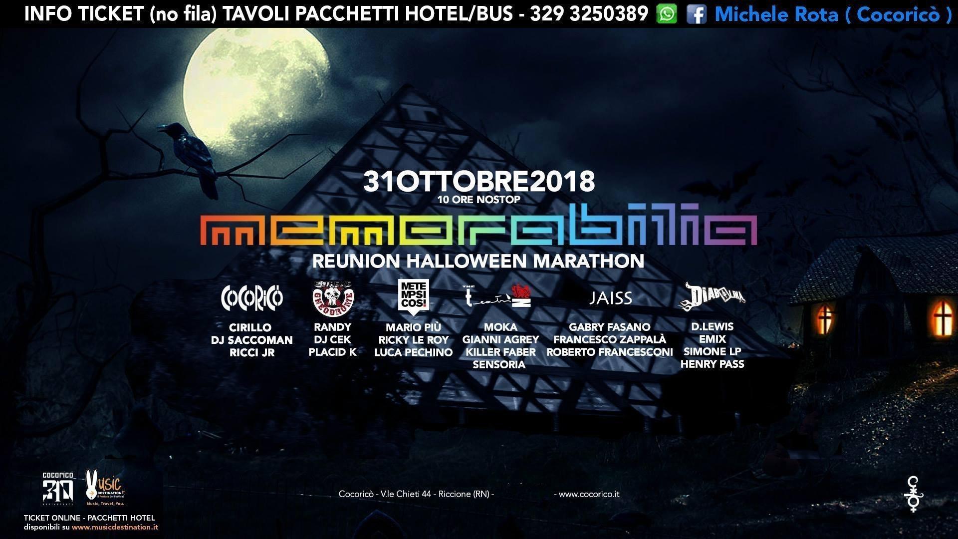 Memorabilia Cocorico Halloween 2018 Ticket Pacchetti Hotel