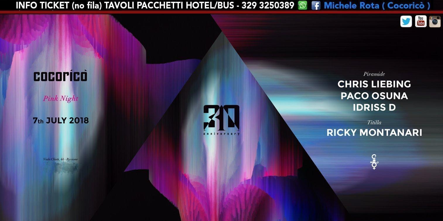 Chris Liebing Cocorico Notte Rosa 07 Luglio 2018 Ticket Tavoli Pacchetti Hotel