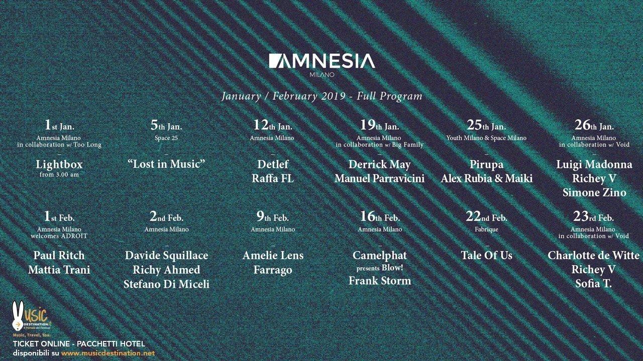 Amnesia Milano Programma Gennaio Febbraio 2019