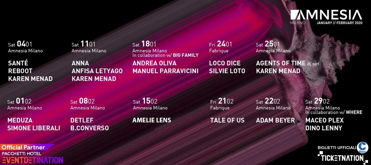Amnesia Milano Febbraio 2020